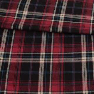 Шотландка стрейч красная в черно-молочную клетку, ш.145