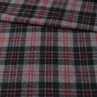 Шотландка серая в черно-красную клетку ш.152