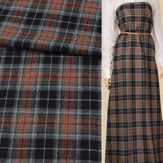 Шотландка черно-серая в оранжево-зеленую клетку ш.153