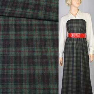 Шотландка зелено-черная в красную клетку, ш.150