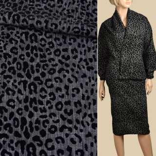 Джинс стрейч серый темный с флоком леопард, ш.150