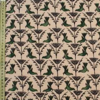 Коттон с ворсом молочный, зеленые птицы, черные ветки, ш.150