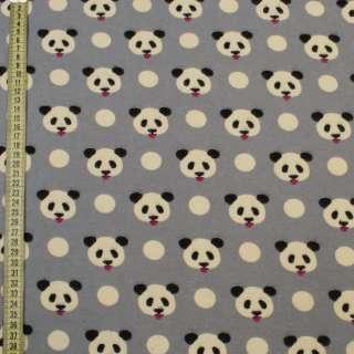 Коттон с ворсом серый, мишки панды, ш.145