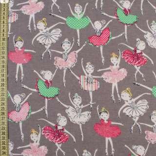 Коттон с ворсом серый, разноцветные балерины, ш.145