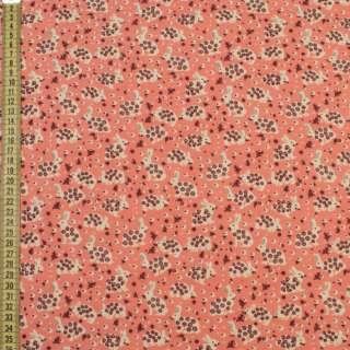 Коттон с ворсом коралловый, зайки в цветочек, ш.140