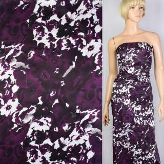 Вискоза атласная фиолетовая в черно-белые цветы-абстракцию ш.147