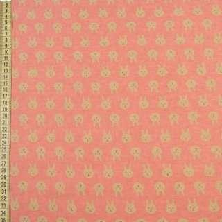 Коттон с ворсом* коралловый, бежевые зайки, ш.150