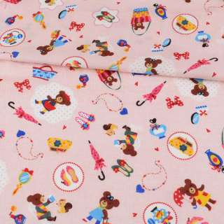 Коттон стрейч розовый, мишки, сумочки, ш.110