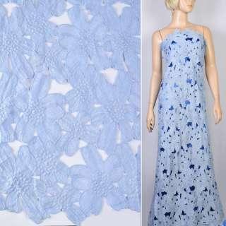 Кружево макраме голубое в цветочки 13см ш.125