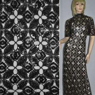 Кружевное полотно черно-серебристое с пайетками ш.115