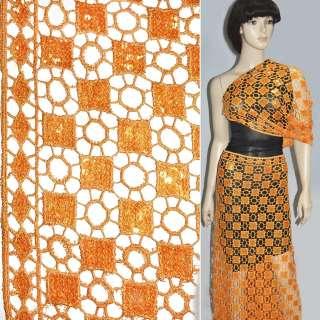 Кружевное полотно ярко-желтое с пайетками ш.120