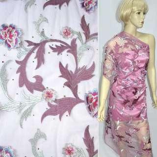Сетка розовая с серебристой вышивкой, цветами и пайетками, ш.130