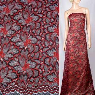 Кружевное полотно стрейч синее темное, красные цветы, ш.145