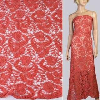 Кружево макраме красное светлое в цветы и завитки ш.115