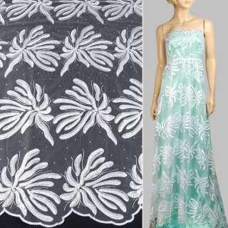 Кружево на сетке с бусинами, стразами белое в большие цветы, 2ст.купон ш.135