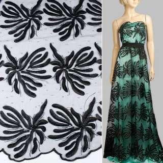 Кружево на сетке с бусинами, стразами черное в большие цветы, 2ст.купон ш.135