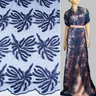 Кружево на сетке с бусинами, стразами синее в большие цветы, 2ст.купон ш.135