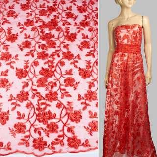 Кружево на сетке с бусинами, стразами красное, вьющиеся цветы, кайма, ш.135