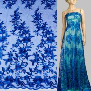 Кружево на сетке с бусинами синее ультра в букеты цветов, 1ст.купон ш.136