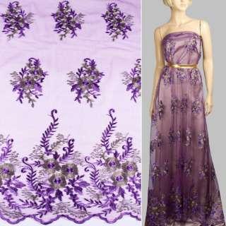 Кружево на сетке фиолетовое в большие цветы из метанити, 2ст.купон ш.140