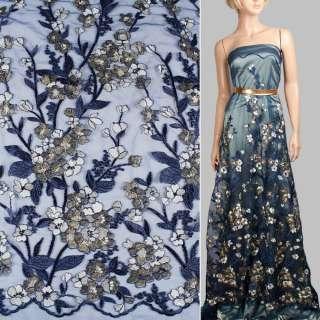 Кружево на сетке синее в цветы из метанити, ветки, 1ст.купон ш.140