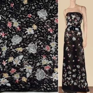 Кружевное полотно черное с разноцветной вышивкой, 2ст.купон, ш.145