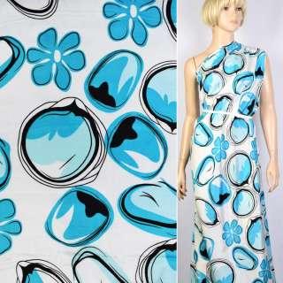 Купра белая в черно-голубые капли и цветы ш.145