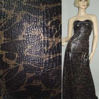 Трикотаж черный с золотисто-серым принтом рептилия ш.150