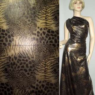 Трикотаж черный с коричнево-серым принтом леопард ш.150