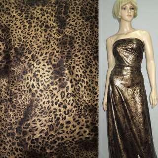 Трикотаж черный со светло-коричневым принтом леопард ш.150