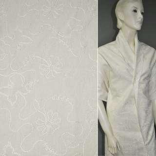 Лен костюмный молочный с вышивкой, ш.140