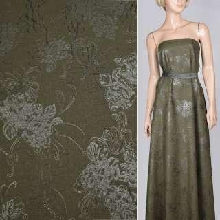 Лен зеленый темный с вышивкой и серебристым рисунком, ш.140