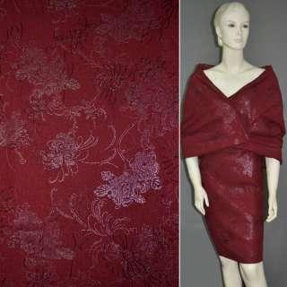 Лен красный темный с вышивкой и серебристым рисунком, ш.140