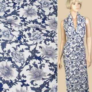 Лен белый в сине-голубые цветы, ветки, ш.140