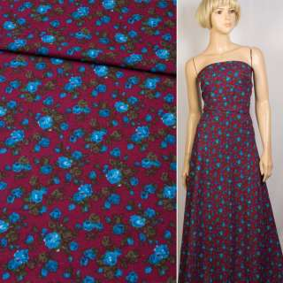 Лен бордовый в синие розы, ш.150