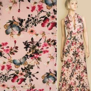 Лен розовый в белые цветы, синие бабочки, ш.145