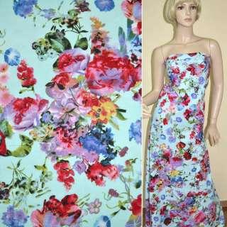 Лен голубой с красно-сиреневыми цветами ш.145
