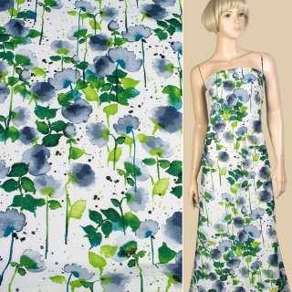 лен белый с сине-зелеными цветами ш.145