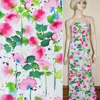 лен белый с розово-зелен. цветами ш.145