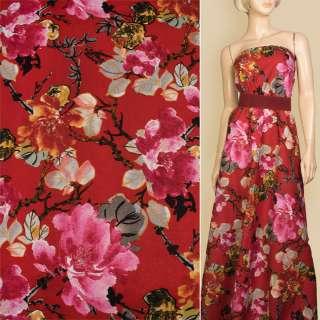 Лен красный в большие розовые цветы, ш.145