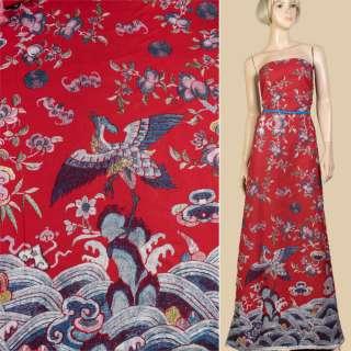 Лен красный, сиреневые цветы, журавль, волны (1ст купон), ш.145
