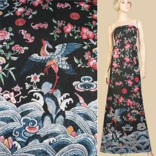 Лен черный, красные цветы, журавль, волны (1ст купон), ш.145