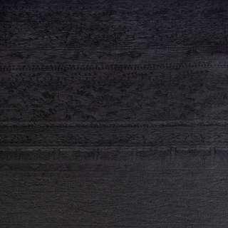 Лен жаккардовый с органзой черный с цветами