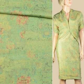 Ткань костюмная салатовая с цветным тиснением, ш.150