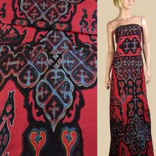 Лен красный в черно-голубой орнамент, 1-ст. купон, ш.145
