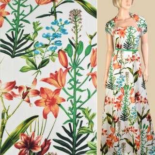 Лен молочный, оранжевые лилии, зеленые листья, ш.145