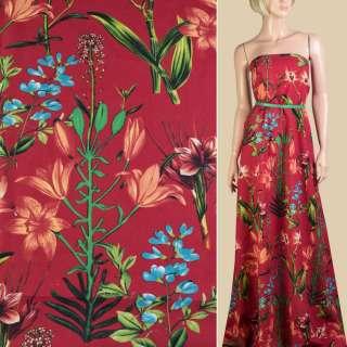 Лен красный, оранжевые лилии, зеленые листья, ш.150