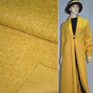 Лоден букле крупное пальтовый желтый, ш.156