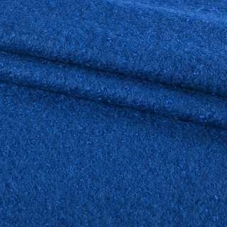 Лоден букле крупное с ворсом пальтовый синий ультра, ш.150