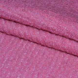 Лоден букле крупное диагональ пальтовый розовый яркий, ш.154